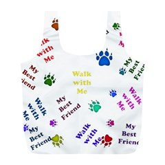 Animals Pets Dogs Paws Colorful Full Print Recycle Bags (l)