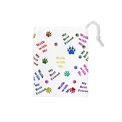 Animals Pets Dogs Paws Colorful Drawstring Pouches (small)