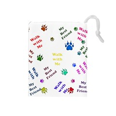 Animals Pets Dogs Paws Colorful Drawstring Pouches (medium)