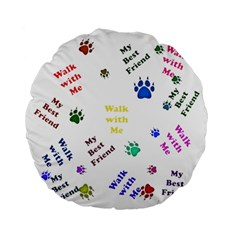 Animals Pets Dogs Paws Colorful Standard 15  Premium Flano Round Cushions