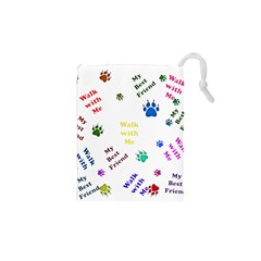 Animals Pets Dogs Paws Colorful Drawstring Pouches (xs)