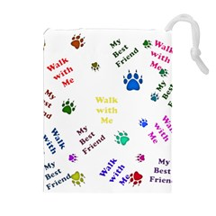 Animals Pets Dogs Paws Colorful Drawstring Pouches (extra Large)