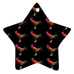 Background Pattern Chicken Fowl Ornament (star)