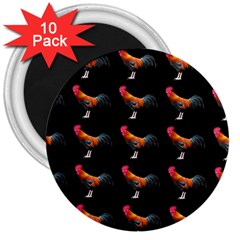 Background Pattern Chicken Fowl 3  Magnets (10 Pack)