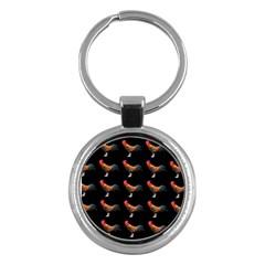 Background Pattern Chicken Fowl Key Chains (round)
