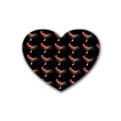 Background Pattern Chicken Fowl Heart Coaster (4 Pack)