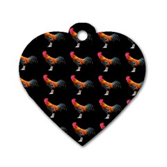 Background Pattern Chicken Fowl Dog Tag Heart (two Sides)