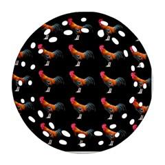 Background Pattern Chicken Fowl Ornament (round Filigree)