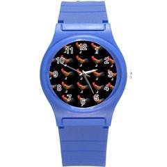 Background Pattern Chicken Fowl Round Plastic Sport Watch (s)