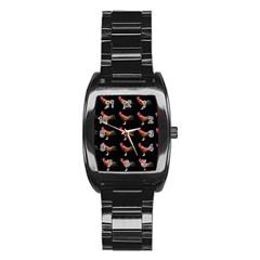 Background Pattern Chicken Fowl Stainless Steel Barrel Watch