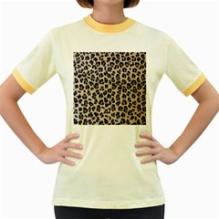 Background Pattern Leopard Women s Fitted Ringer T Shirts