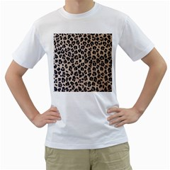 Background Pattern Leopard Men s T Shirt (white) (two Sided)