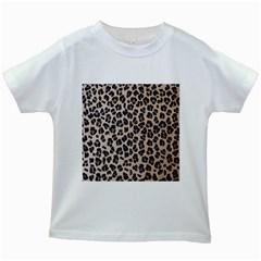 Background Pattern Leopard Kids White T Shirts