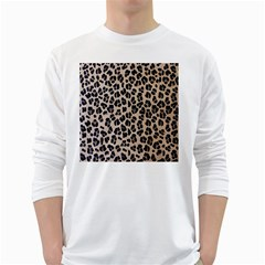 Background Pattern Leopard White Long Sleeve T Shirts
