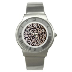 Background Pattern Leopard Stainless Steel Watch