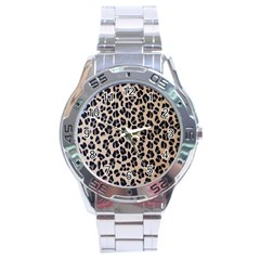 Background Pattern Leopard Stainless Steel Analogue Watch