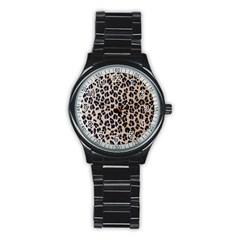 Background Pattern Leopard Stainless Steel Round Watch