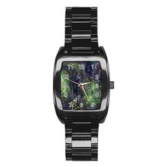 Backdrop Background Abstract Stainless Steel Barrel Watch