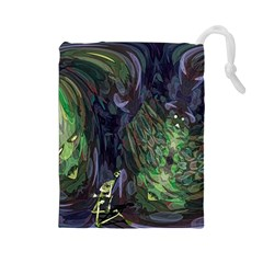 Backdrop Background Abstract Drawstring Pouches (large)