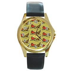 Bird Birds Animal Nature Wild Wildlife Round Gold Metal Watch