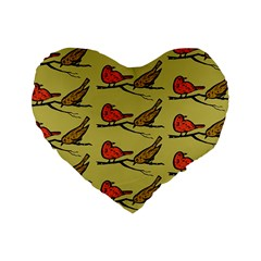 Bird Birds Animal Nature Wild Wildlife Standard 16  Premium Flano Heart Shape Cushions