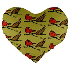 Bird Birds Animal Nature Wild Wildlife Large 19  Premium Flano Heart Shape Cushions