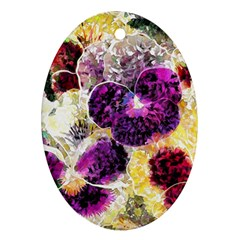 Background Flowers Ornament (oval)