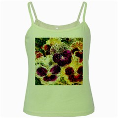 Background Flowers Green Spaghetti Tank