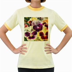 Background Flowers Women s Fitted Ringer T Shirts