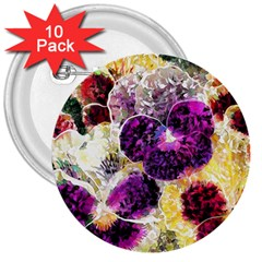 Background Flowers 3  Buttons (10 Pack)