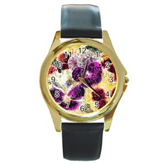 Background Flowers Round Gold Metal Watch