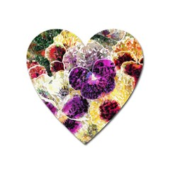 Background Flowers Heart Magnet