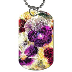 Background Flowers Dog Tag (one Side)