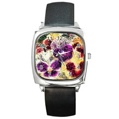 Background Flowers Square Metal Watch