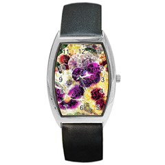 Background Flowers Barrel Style Metal Watch