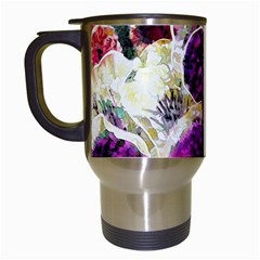 Background Flowers Travel Mugs (White)