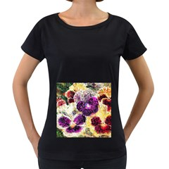 Background Flowers Women s Loose Fit T Shirt (black)