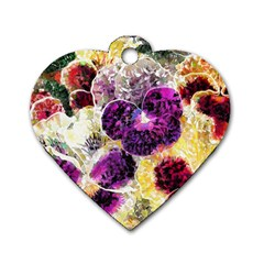 Background Flowers Dog Tag Heart (two Sides)