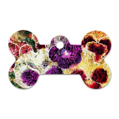 Background Flowers Dog Tag Bone (two Sides)