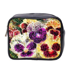 Background Flowers Mini Toiletries Bag 2 Side