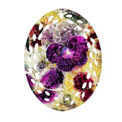 Background Flowers Oval Filigree Ornament (two Sides)