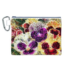 Background Flowers Canvas Cosmetic Bag (l)