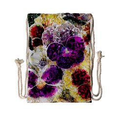 Background Flowers Drawstring Bag (small)
