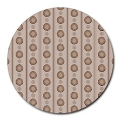 Background Rough Stripes Brown Tan Round Mousepads
