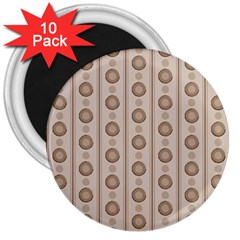 Background Rough Stripes Brown Tan 3  Magnets (10 Pack)