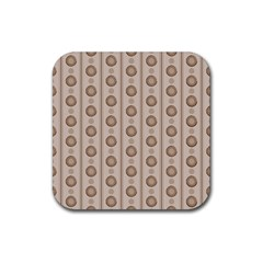 Background Rough Stripes Brown Tan Rubber Square Coaster (4 pack)