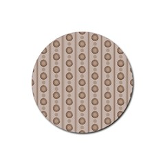 Background Rough Stripes Brown Tan Rubber Round Coaster (4 Pack)