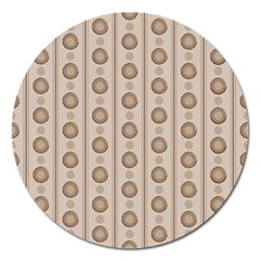 Background Rough Stripes Brown Tan Magnet 5  (Round)