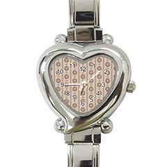 Background Rough Stripes Brown Tan Heart Italian Charm Watch