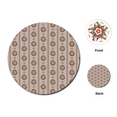 Background Rough Stripes Brown Tan Playing Cards (round)